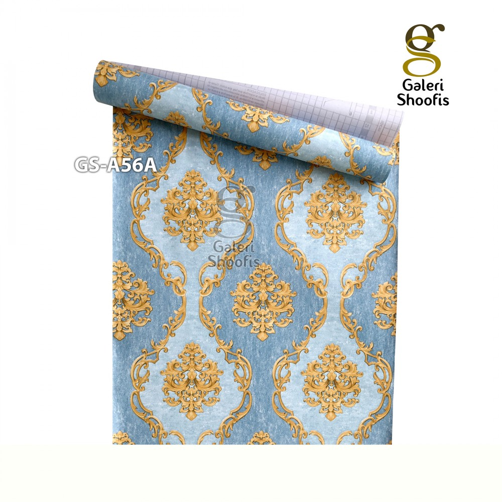 Wallpaper Sticker Motif Batik Gold Biru Muda GS-A56A