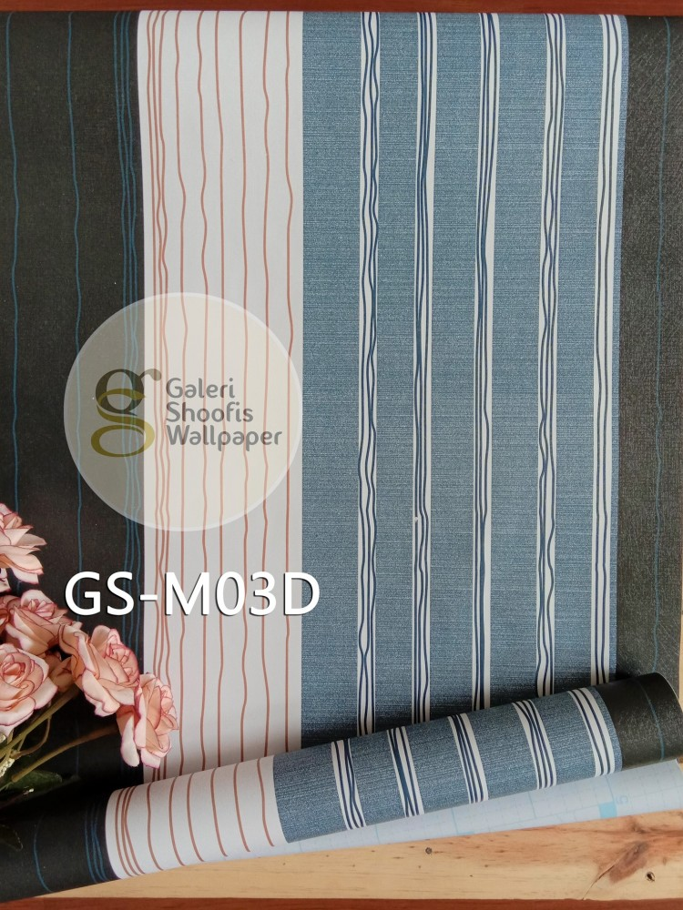 Wallpaper Sticker Motif Garis Biru Navy kode GS-M03D