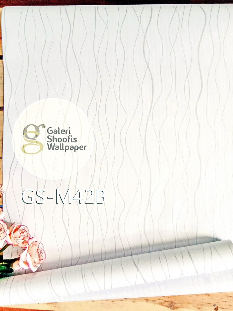 Wallpaper Sticker Motif Garis Putih Silver kode GS-M42B