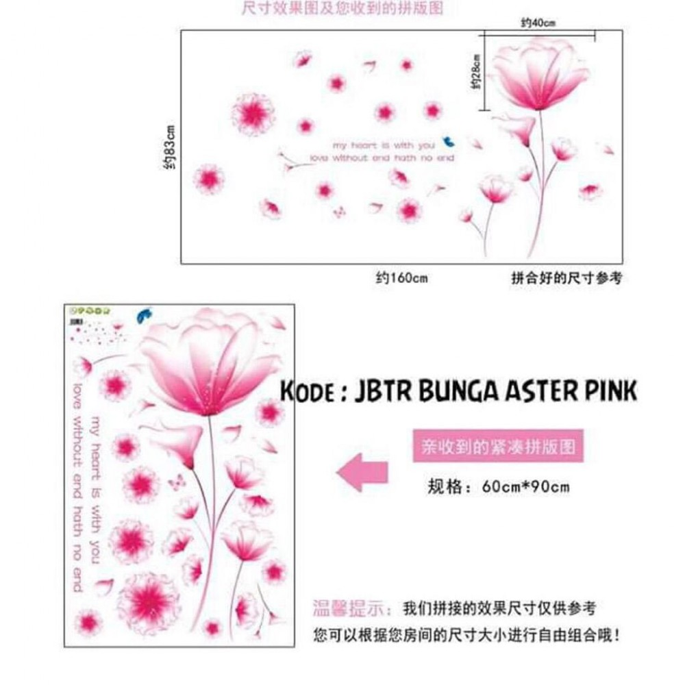 Wall Sticker Bunga Aster Pink