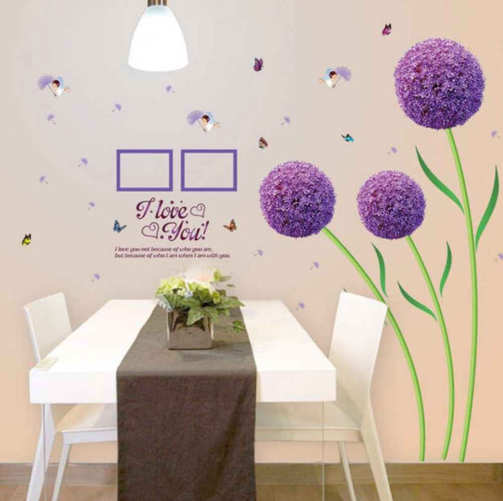Wall Sticker Bunga Ungu Bulat