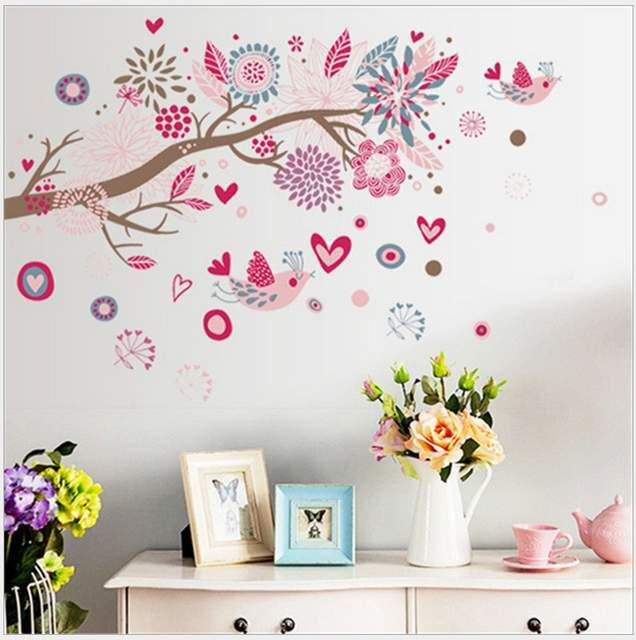Wall Sticker Dahan Burung Pink