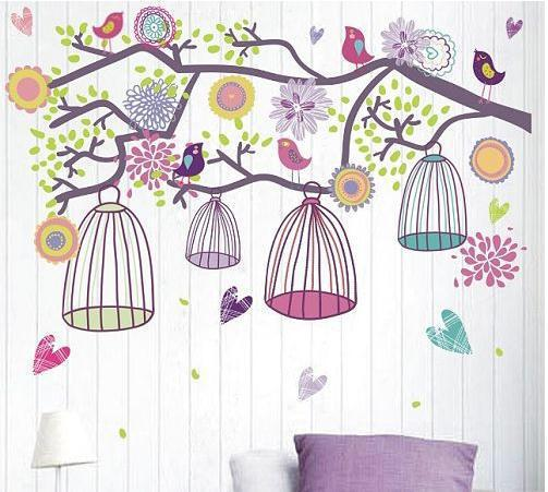 Wall Sticker Dahan Sangkar Warna