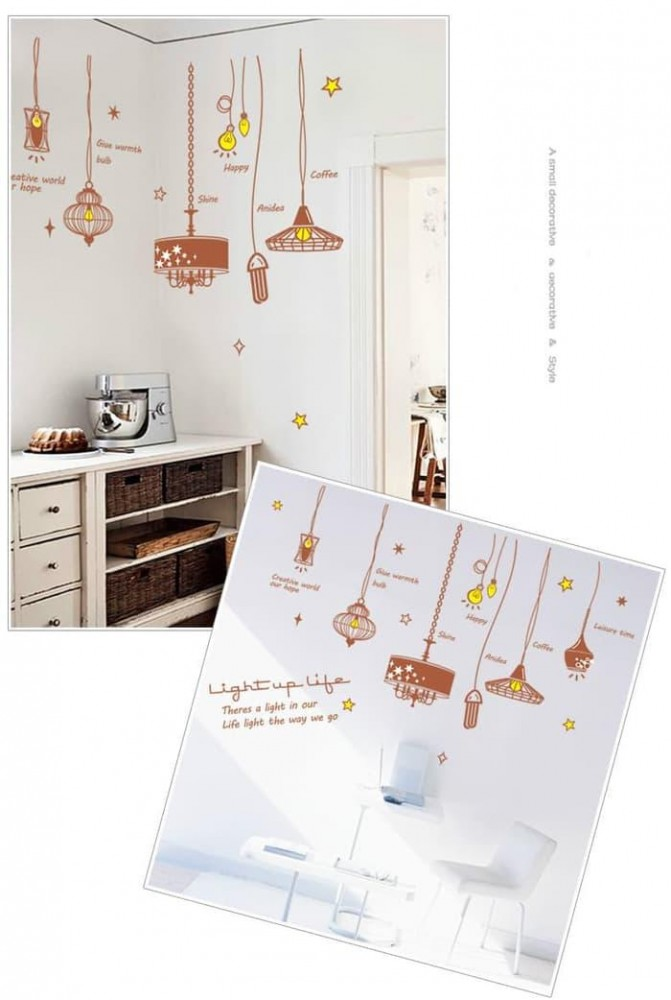 Wall Sticker Lampu Gantung Coklat