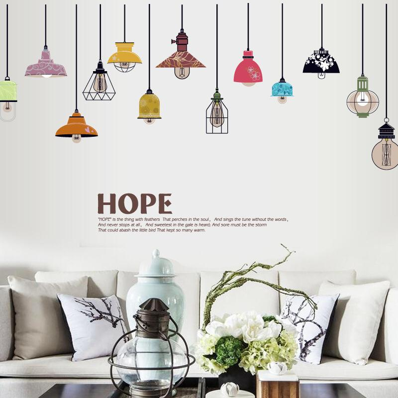 Wall Sticker Lampu Gantung Warna Warni
