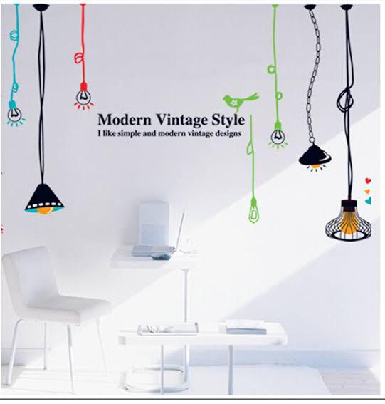 Wall Sticker Lampu Gantung Warna