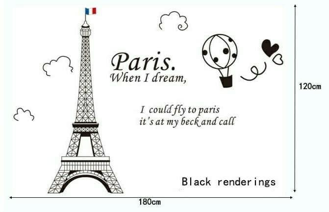 Wall Sticker Stiker Dinding Paris Balon Udara