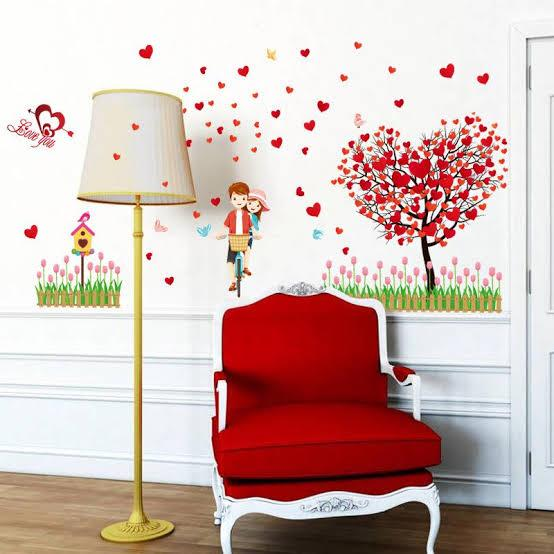 Wall Sticker Pohon Love Merah