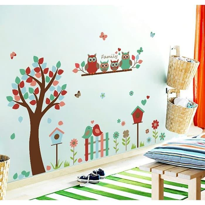 Wall Sticker Pohon Owl family