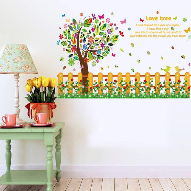 Wall Sticker Pohon Pagar Warna