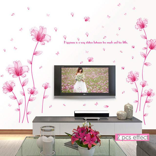 Wall Sticker Tangkai Bunga Pink