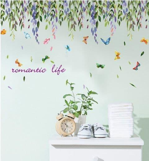 Wall Sticker Tirai Bunga Romantic Life