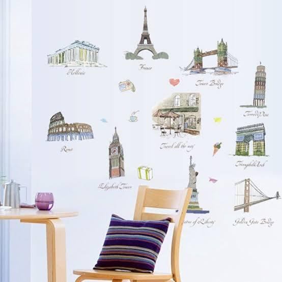Wall Sticker World Land Marks