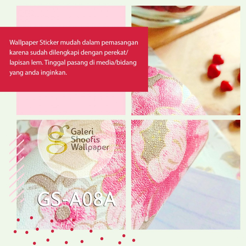 Wallpaper Sticker Motif Batik Eropa Pink kode GS-A08A