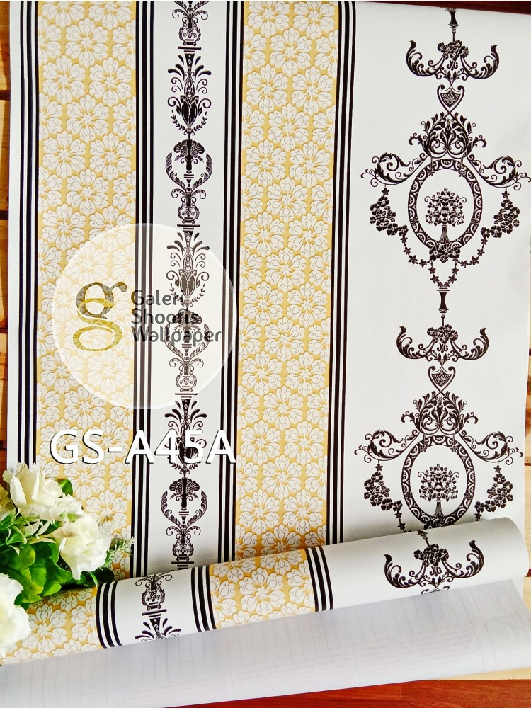 Wallpaper Sticker Motif Batik Hitam Putih Gold kode GS-A45A
