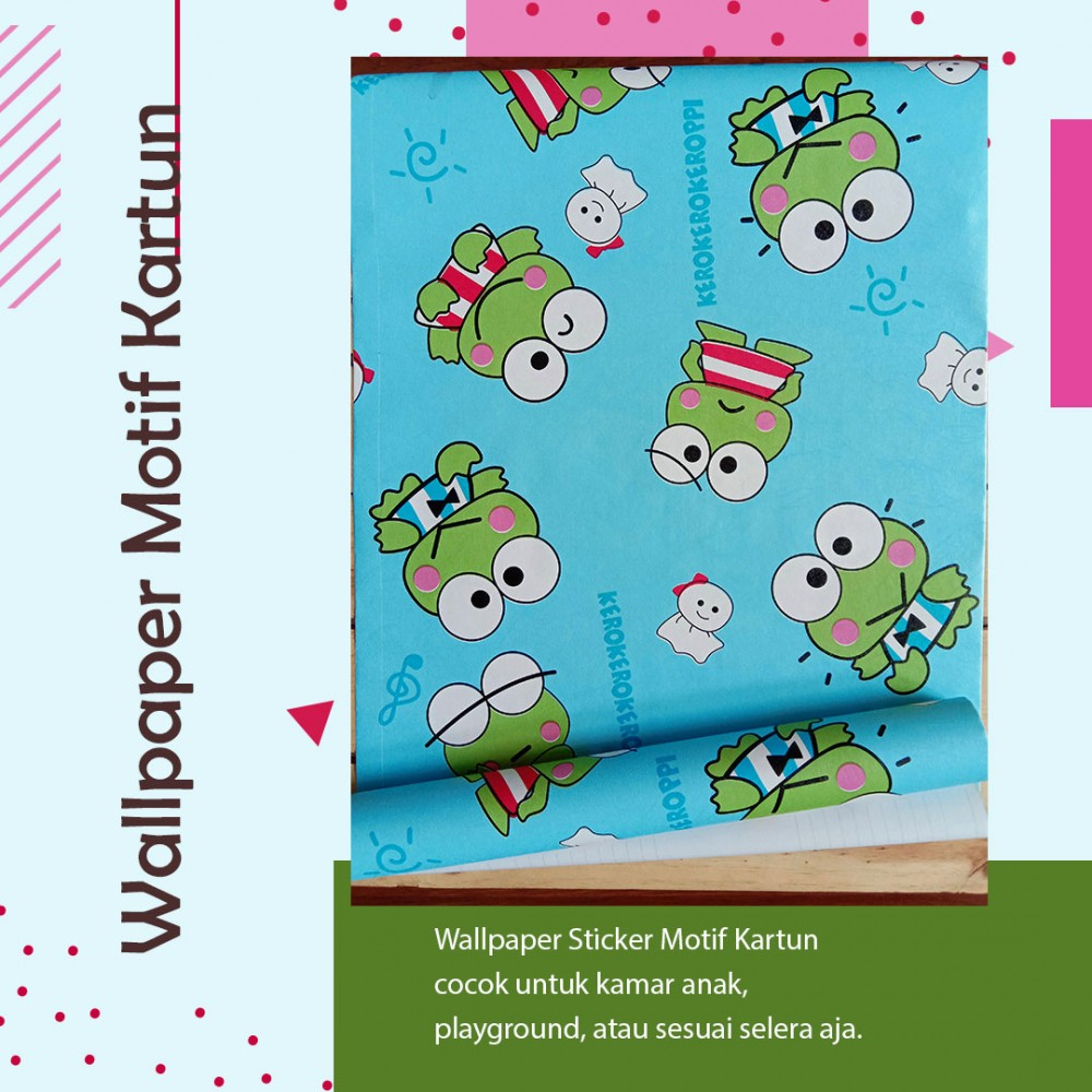 Wallpaper Sticker Motif Keroppi Biru kode GS-K29B