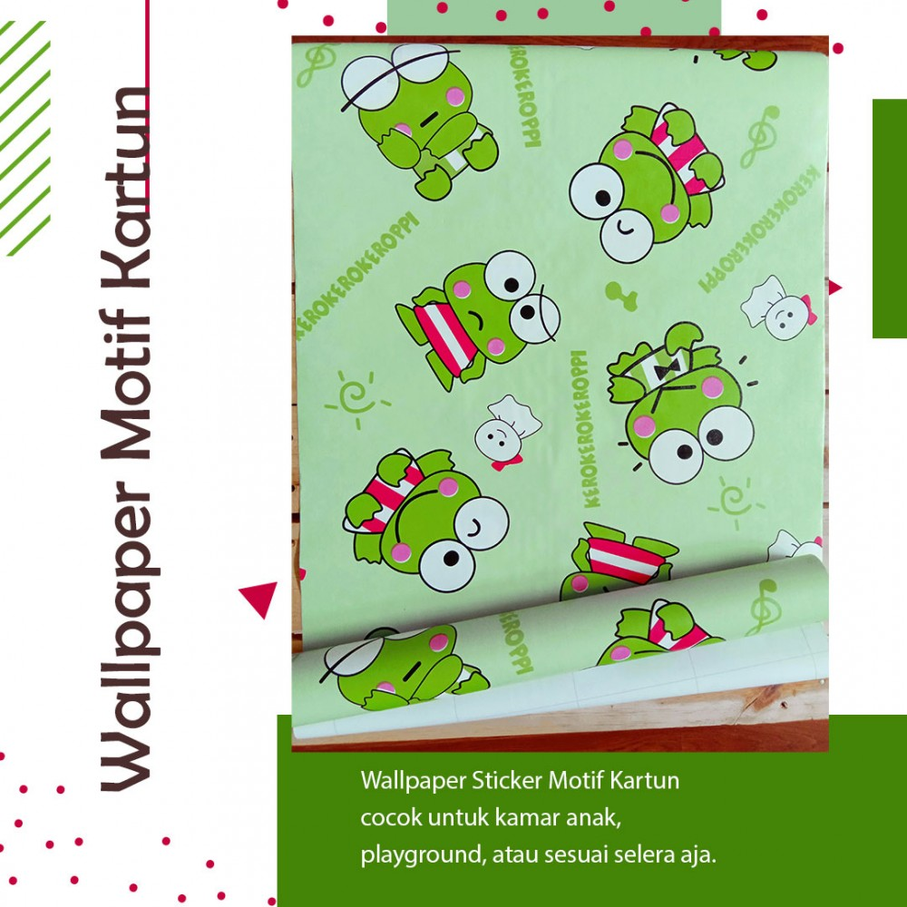 Wallpaper Sticker Motif Keroppi Hijau kode GS-K29A
