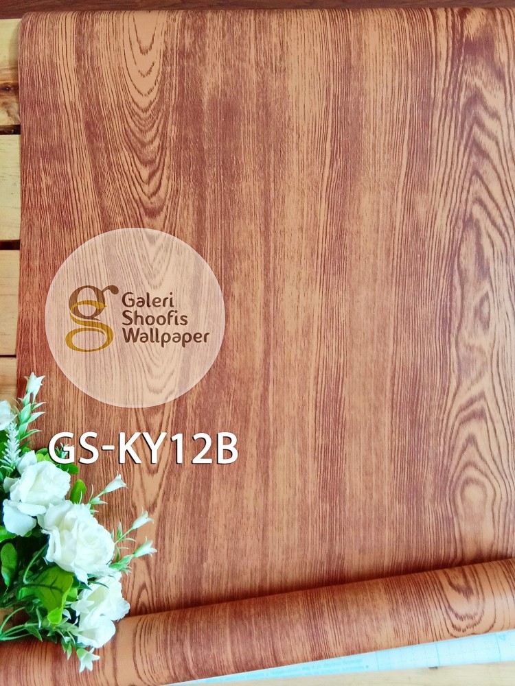 Wallpaper Sticker Motif Kayu Coklat Muda Kode GS-KY12B