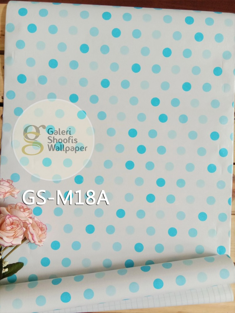 Wallpaper Sticker Motif Polkadot Biru kode GS-M18A