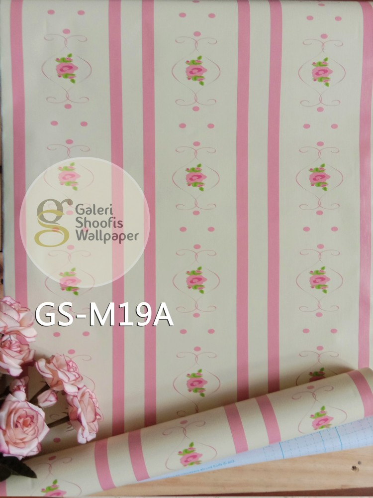 Wallpaper Sticker Motif Garis Bunga Pink GS-M19A