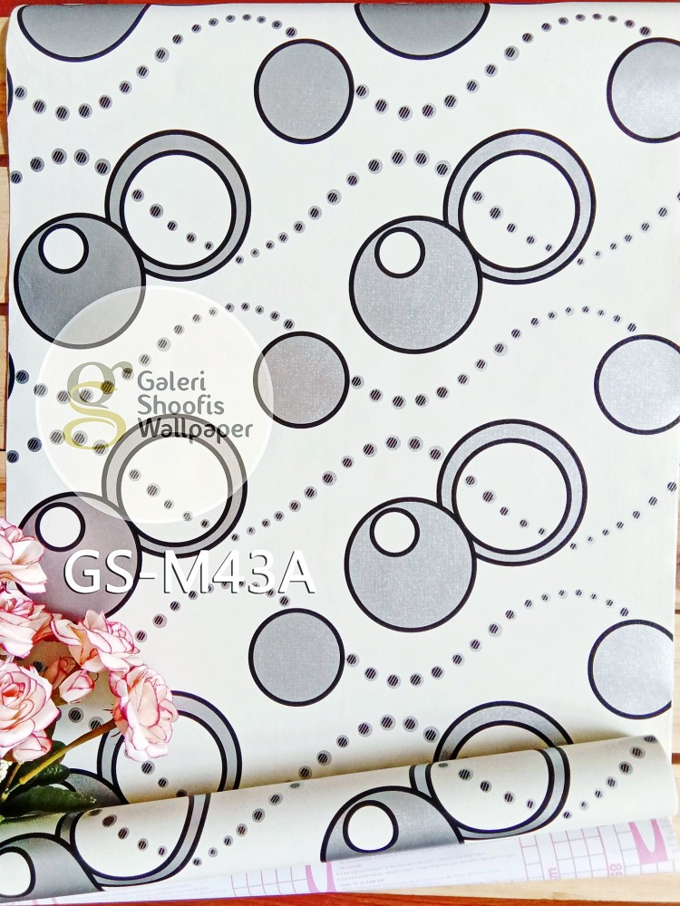 Wallpaper Sticker Motif Polka Silver kode GS-M43A