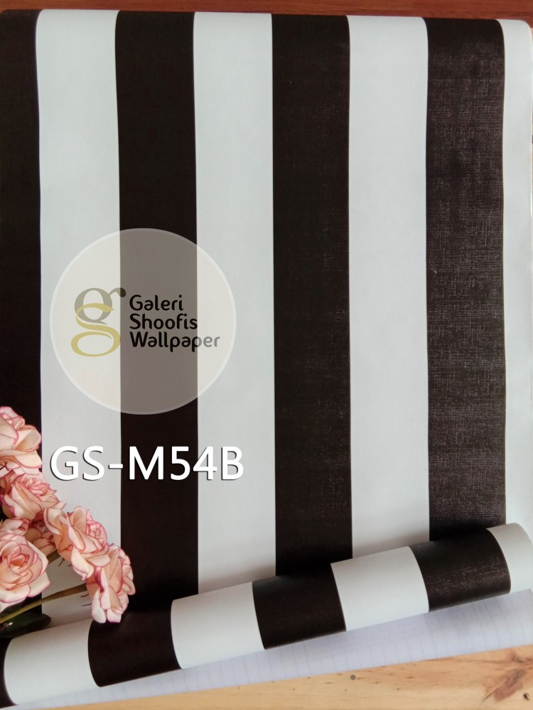Wallpaper Sticker Motif Garis Hitam Putih kode GS-M54B