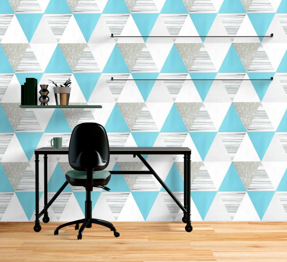 Wallpaper Sticker Motif Segi Tiga Biru kode GS-M58F