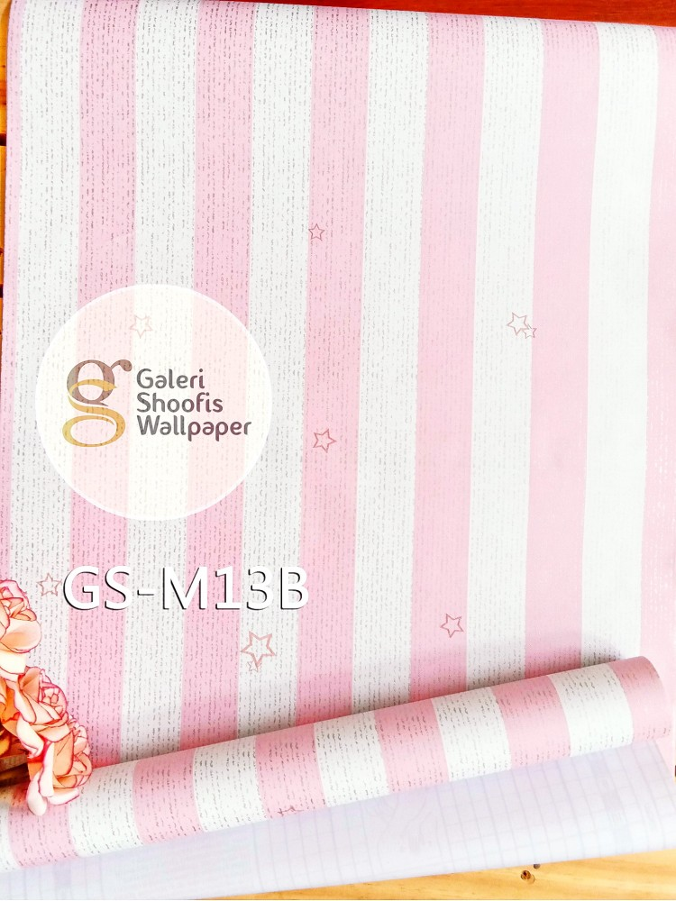 Wallpaper Sticker Garis Pink Bintang kode GS-M13B
