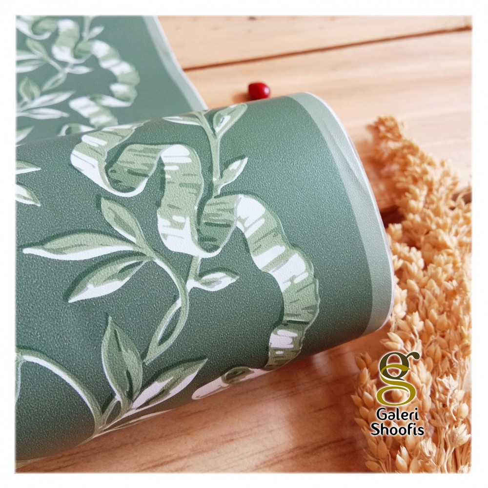 Wallpaper Sticker Border PVC Motif Ranting Daun