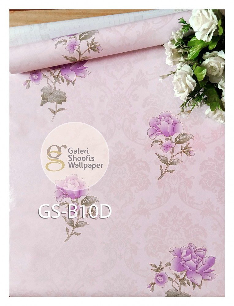 Wallpaper Sticker Motif Bunga Rose Ungu kode B10D