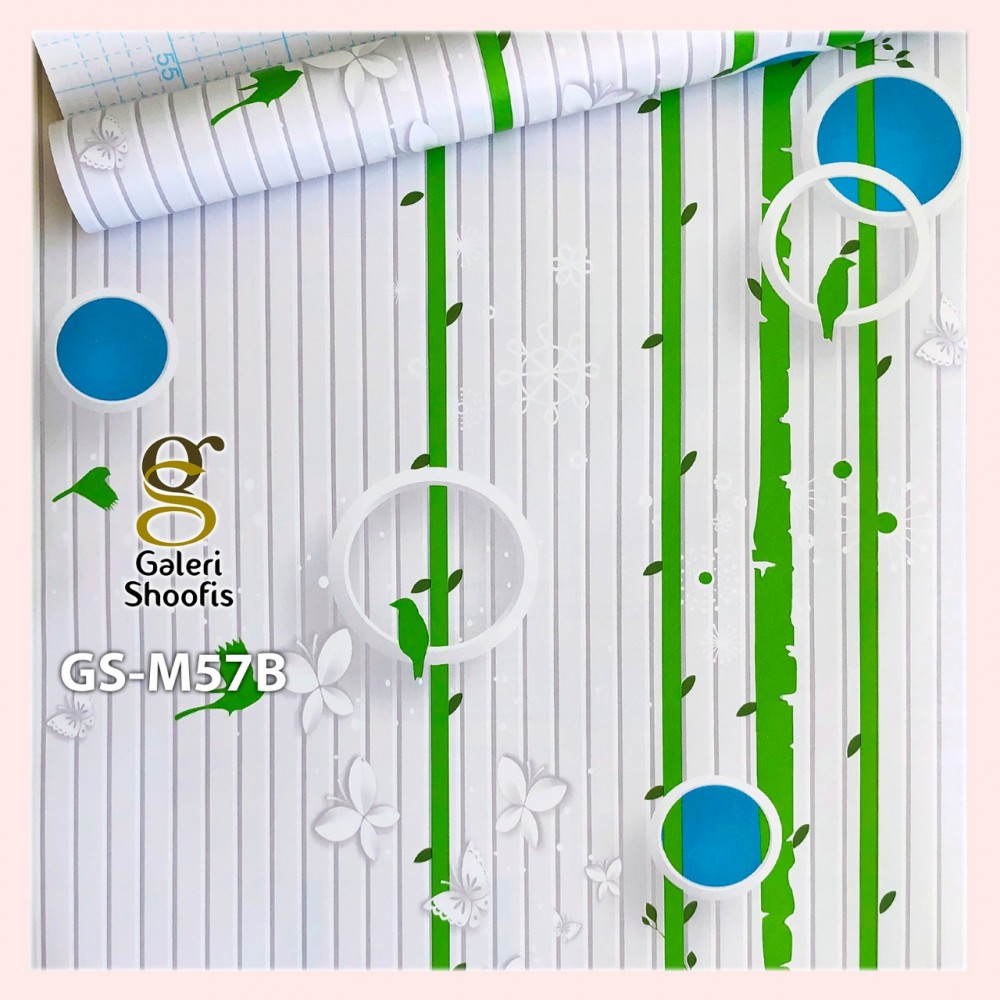 Wallpaper Sticker Motif Garis Polka Hijau Biru kode GS-M57B