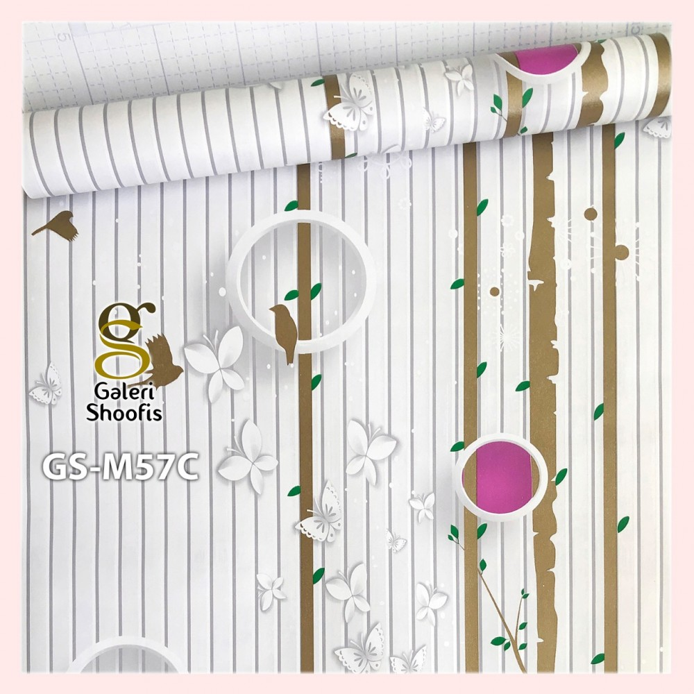 Wallpaper Sticker Motif Garis Polka Coklat Ungu GS-M57C