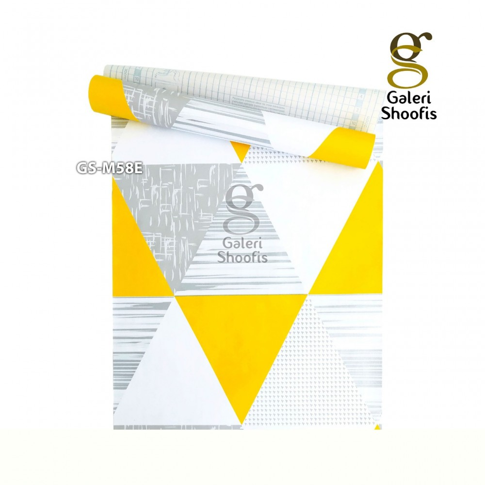 Wallpaper Sticker Motif Segi Tiga Kuning kode GS-M58E